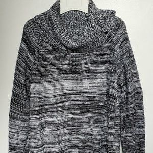 CYNTHIA ROWLEY BLACK/WHITE COWL NECK SWEATER XL